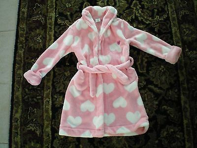 BABY GAP Toddler Girls Pink White Hearts Hooded Bath Robe - size 4 years