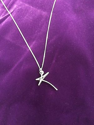"Kylie Minogue Silver ""K"" Pendant with Solid Silver Chain. No Reserve"