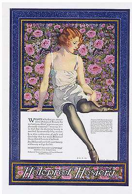 1924 Coles Phillips Holeproof Hosiery Flapper in Lingerie Color Print Ad