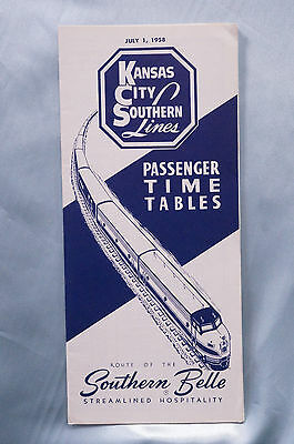 Kansas City Southern Lines - Timetable - July 1, 1958