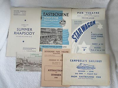 6 x Eastbourne 1948 Grand Parade Souvenir + Theatre Progammes with ticket stubs