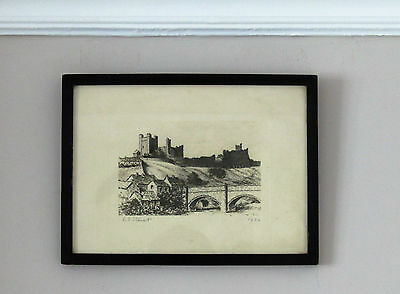 Antique 1934 Etching Signed E.T or E.J Stewart Castle on a Hill in Frame