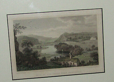 Antique 1834 Vale of the Teify Near Newcastle Print Etching Mounted Framed