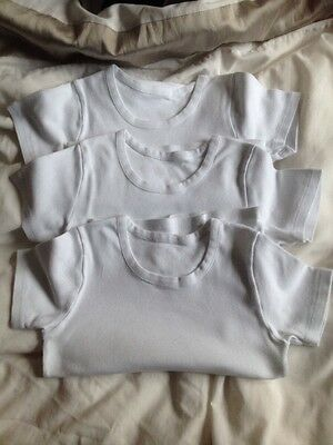 Boys White M & S Vests x 3 Aged 6-7 Years (122cm)