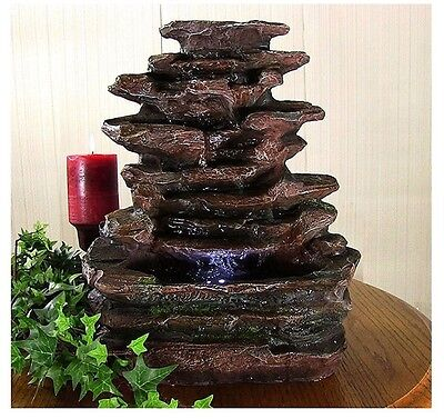 Relaxing Soothing Rock Falls Tabletop Electric Waterfall Fountain w/ LED Lights!