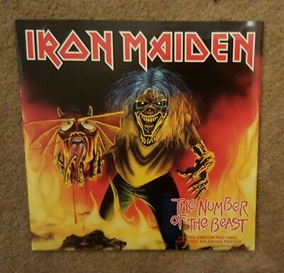 """Iron Maiden 'number Of The Beast'  7"""" Red Vinyl Single With Poster"""