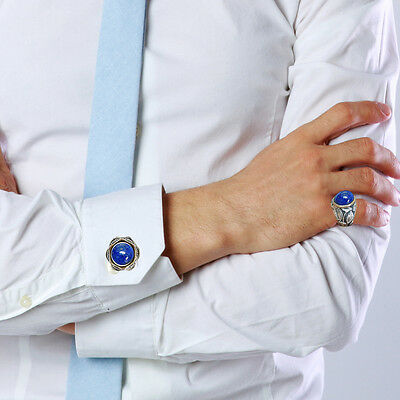 Cuff link With Ring Handmade Silver Egyptian Lapis  Vintage Style Men's Jewelry