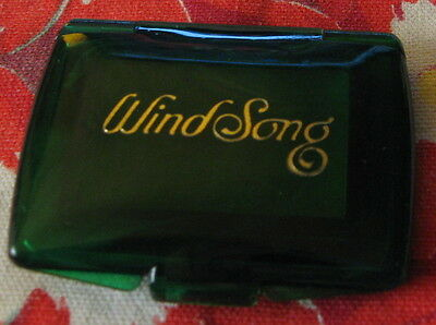 Vintage Windsong Solid Perfume Compact ~ Pretty Marbleized Green & Tiny
