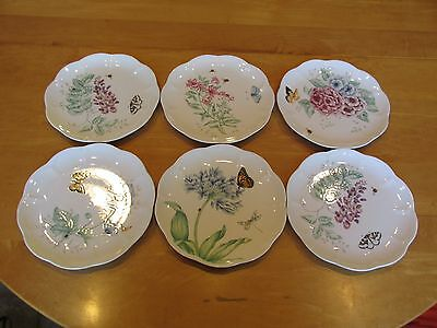 Set of 6 Lenox Butterfly Meadow Accent Luncheon Plates: Various Designs