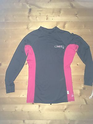 o'neill ladies long sleeved rash vest grey pink woman Large surf top worn once