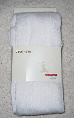 Brand New John Lewis Baby Girls 2 Pack White Tights Age 2-3 Years