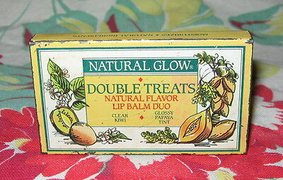 Vintage Natural Glow Double Treats Lip Balm / Gloss Duo in Slider Tin ~ Unused