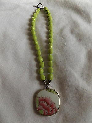 Vintage Green Porcelain Bead Necklace With Hand Painted Pendant Toggle Clasp