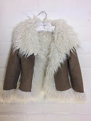 Gorgeous Next Girls Faux Suede/ Fur Afghan Winter Coat Jacket Age 5-6 Years