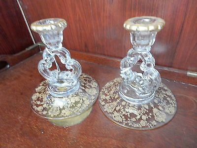 2 Cambridge ROSE POINT Keyhole Single Candlesticks GOLD ENCRUSTED RARE! clear ST
