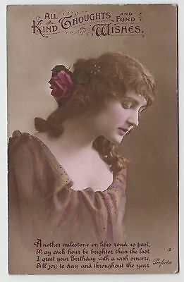 POSTCARD - glamour, pretty lady looking down, flowers in hair, birthday greeting