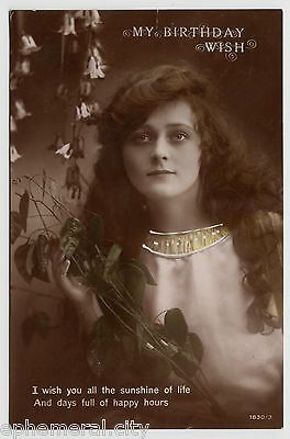 POSTCARD - glamour, pretty lady with long curly hair, birthday greeting, RP