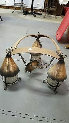 Hand Made Copper Shades Wooden Fixture Ceiling Light Heavy
