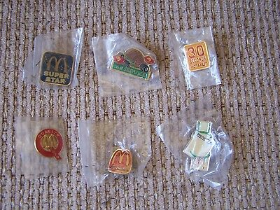 6 Vintage Mcdonalds Crew Member Employee Pins Very Nice Lot
