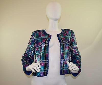 Vtg 80s 90s Art Deco Jeweled Stenay Beaded Sequin Blazer Jacket Top Party M L