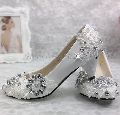 White lace crystal Wedding shoes Bridal flats/low/high heels size 5-10