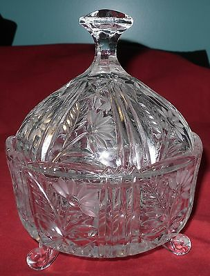 """Vintage Cut Crystal Clear 3-Footed Covered Candy Dish  Floral Pattern 6"""" x 7 1/2"""