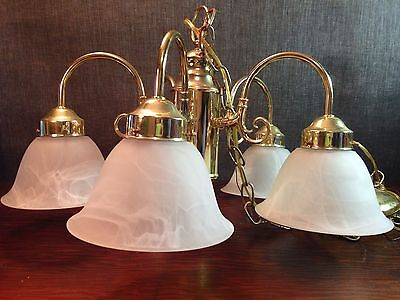 5 Arm Brass Chandelier w/ Frosted Glass Shades
