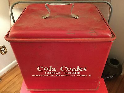 Vtg 1950's Red Cola Cooler Poloron Metal Insulated With Tray In Gc