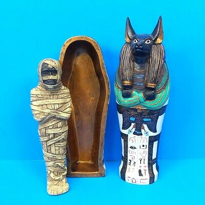 "Egyptian Anubis Sarcophagus With Mummy Small 5.25"" Ancient Egypt Collectible"