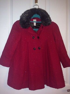 Monsoon Girls Red Sparkly Woollen Swing Christmas Coat Age 7-8