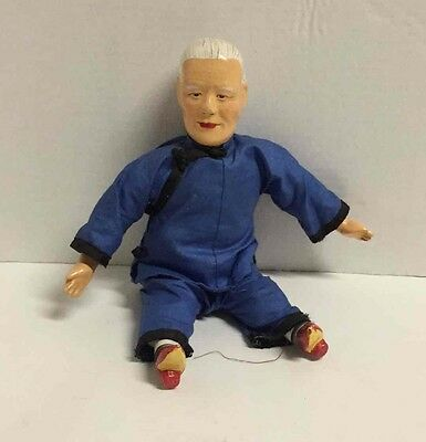 """Asian Vtg Soft Body Doll 10.5"""" White Hair Blue Outfit Red Shoes Kung Fu Oriental"""