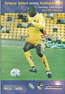 Torquay United v Hartlepool United, 24 August 2002, Division 3