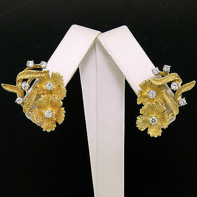 18K Yellow Gold 0.60ctw FINE Round Diamond Textured Flower Leaf Omega Earrings