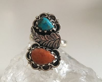 Native American Sleeping Beauty Turquoise & Italian Coral 925 Silver Ring