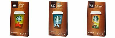 Starbucks Via Instant Coffee 12 Sachets 3 Flavours, Colombia, Italian, Decaf