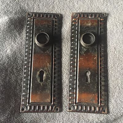 Antique  Pair Of Salvage Architectural door knob Backplates