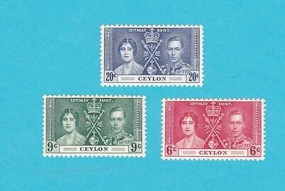 CEYLONSc#275-77,1937 Coronation Issue MNH  /6c MLH/ Stamps COLLECTION . lot#304
