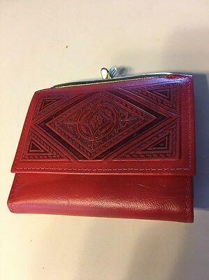 vintage retro 1970s Amity ladies wallet never used, cowhide, Red Tooled Leather