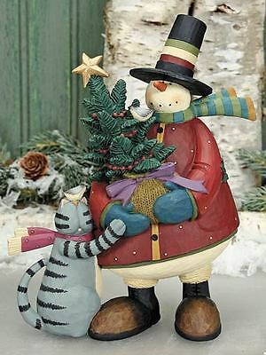 "SNOWMAN w/ CAT - ""Old Fashion Tree Party"" - Williraye - 2885 - New in Box"