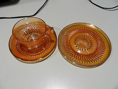 """Jeannette Glass Co. Anniversary Iridescent Marigold Cup & Saucer & 6 1/4"""" Plate"""