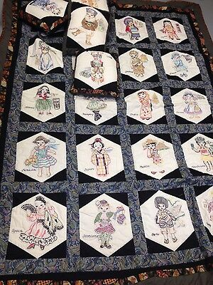 "2003 spectacular 64x82"" children of the world quilt +4 pillows embellishments"