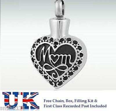 Memorial Ashes Heart Necklace  Funeral Cremation Jewellery  Ash Urn Pendant Mom