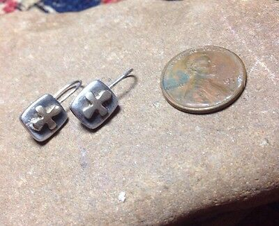 Handcrafted French Wire Earrings; Gold Colored Cross On Silver; Very Small