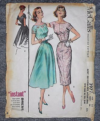 """Vintage McCall's Dress Frock Fabric Material Sewing Pattern Sz 14 34""""b # 3971"""
