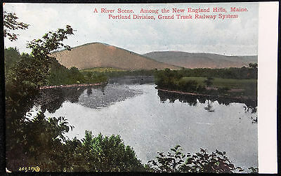 Early 1900's UBPC Postcard River Scene Among New England Hills Maine