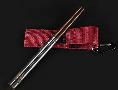 1 pair high grade portable SuanZhiMu Rosewood Chinese chopsticks screw style