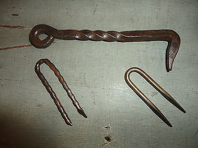 Antique wrought iron twisted hook with staples --5""""