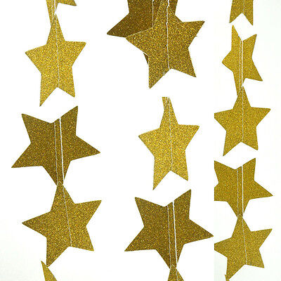 Gold Hanging Star Garland Banner Bunting Props Decor For Wedding Birthday Party.