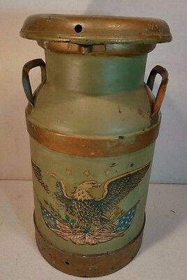 Beautiful Vintage Farm Dairy 5 Gallon Milk Cream Can - Green & Gold with EAGLE!