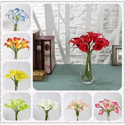 1Set9Pcs Artificial Calla Lily Bouquet Head Fake Silk Flower Wedding Party